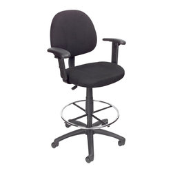 Boss Office Products - Boss Office Products Contoured Fabric Drafting Stool with Adjustable Arms-Black - Boss Office Products-Drafting Chairs-B1616BK-The smoothly designed Boss Contoured Fabric Drafting Stool with Adjustable Arms brings comfort and efficiency to your office. The adjustability of this seat ensures this unit is perfect for persons of any size. Sit back and get the job done with the Drafting Stool.