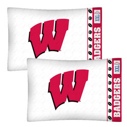 Store51 LLC - NCAA Wisconsin Badgers Football Set of Two Pillowcases - Features: