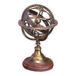"Benzara - Brass Globe Armillary 11""H - Brass Globe Armillary 11""H. 32346 brass globe Armillary states the true definition of sculpture art."