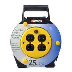 Coleman Cable - 25' SJTW Black Cord Reel - 4907 - 16/3 25' SJTW BLACK CORD REEL. Cord Reel Features: Circuit breaker and power indicator light, 4 handy grounded outlets, 25 ft. 16/3 SJT black extension cord included, 10 Amp circuit breaker, Power indicator light, Black case with yellow hub.