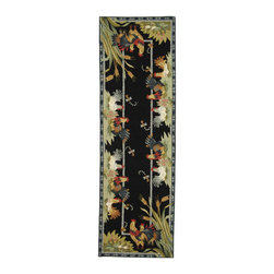 """Safavieh - Chelsea Rug, Black, 2' 6"""" x 8' - 100% pure virgin wool pile, hand-hooked to a durable cotton backing. American Country and turn-of-the-century European designs. This collection is handmade in China exclusively for Safavieh."""