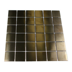 "Metal Copper Stainless Steel Squares Tiles - METAL COPPER STAINLESS STEEL 2X2 SQUARES TILES The clean geometric design with the metal copper stainless steel is chic and visually striking. The tile will provide any room with a sleek, stylish and contemporary appearance. This is a great alternative to use for in a kitchen backsplash, feature wall or as decorative borders. Chip Size: 2""x2"" Color: Metal Copper Material: Stainless Steel Finish: Matte Sold by the Sheet - each sheet measures 12"" x 12"" (1 sq. ft.) Thickness: 5mm"