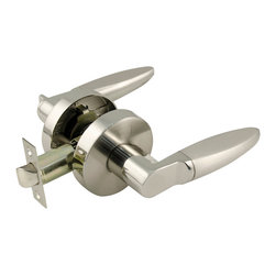 "Enchante Accessories Inc - Accent Passage Lever Door Handle For Hall and Closet, Satin and Brushed Nickel F - Passage function lever lock for hall and child room doorsReversible for right and left hand opening doorANSI Grade 3 compliantDual finish: Satin Nickel & Polished Nickel Fits door thickness from 1-3/8 in. to 1-3/4 in.For the decorator or homeowner that takes pride in having even the smallest details look stylish, this passage lever door handle set is sure to do the trick.  The Sheffield Home KDL502PS "" Passage Lever Set, Satin Nickel & Polished Nickel is made from durable metal and features a modern dual finish design in satin nickel and polished nickel that makes it easy to coordinate with lighting fixtures and other accents throughout the home.  With ANSI Grade 3 certification, this passage door lever set is designed for use on hall doors, closet doors, and bedroom doors that don't require the security of a handle with a lock.  The modern nickel finish gives this handle set a clean, contemporary lock while the sturdy construction is built to last and stand up to repeated, daily use.  Designed to fit doors that measure between 1 3/8 in. "" 1 3/4 in. thick, this stylish door handle set is easy to install and features a 5 1/4 in. wide handle that makes it comfortable to grip and easy to use.  A modern update and a welcome alternative to traditional rounded doorknobs, this passage lever set offers function and fashion for use in any room in any type of home.  The levers are smooth and slick, comfortable to grip, and feature a satin finish while the rounded backing sits flush against each side of the door.  Also available in a non-turning handle version as well as a locking handle for privacy and security on bedroom doors, home offices, or workrooms, this stylish handle set is made from high quality materials and features a high end design, despite its affordable price.   The passage lever version and the locking handle version are accompanied by a bolt latch for easy installation and a seamless fit while the non-turning handle option only includes the handles.  The design of this door handle is reversible and can be installed for use by right handed or left handed users."