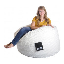 None - 4-foot Round White Fur and Foam Large Kid Bean Bag Chair - Allow your child or teenager to watch a movie or simply relax in one of these comfortable bean bag chairs. These large bean bags feature a soft white fur cover and are easy to clean for years of enjoyment.