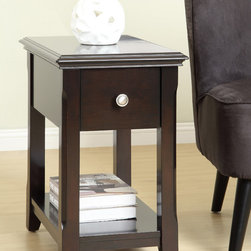 None - Dark Espresso Single-drawer Side Table - This functional side table has a pull out drawer for storage. The dark espresso living space accent piece also features a lower shelf for storing belongings.