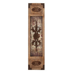 Benzara - Wall Panel with Symmetrical Motifs and Unique Design - Make your plan wall look special by decorating it with Wood Metal Wall Panel with Symmetrical Motifs and Unique Design. With its eclectic design, this wall panel is sure to be admired. This wall panel makes a perfect wall art piece with its rustic wooden look and metal corner panels. This beautiful panel is compact enough to not occupy too much space, but still manages to focus all attention on its unique central design pattern that seems embossed onto the worn out and faded paper base. The symmetrical motifs on either end add oodles of class to this panel, and you can hang it up horizontally as well as vertically. You can cascade similar wood panels to create a collage of sorts that can easily increase the aesthetic appeal of your walls. Get them as gifts for a friend or dear one's new home.