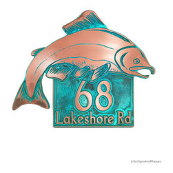 """Salmon Fish Address Plaque 18"""" x 14.5"""" in Copper Verdi - Ranging from the Pacific to the Atlantic, the mighty Salmon has been honored in folklore, and relished for both food and sport. Our Salmon Fish Address Plaque takes the salmon off the platter and places it at your cabin door, post, or gate. From Alaska to Ireland and back to the Great Lakes, what a way to dress up your cottage, home, or business. Even city folk can make a splash with this piece of art."""
