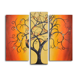 "My Art Outlet - Hand Painted ""Thai tree dance"" 3 Piece Set Oil Painting - Size: 36"" x 44"" (16"" x 32"" x 2pc; 12"" x 36"" x 1pc). Enjoy a 100% Hand Painted Wall Art made with oil paints on canvas stretched over a 1"" thick wooden frame. The painting is gallery wrapped and ready to hang out of the box. A very stylish addition to any room that is sure to get the attention of guests."