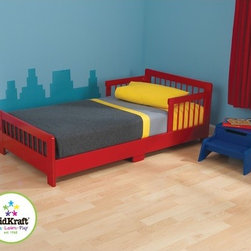 "KidKraft - Slatted Toddler Bed - Our Slatted Toddler Bed helps make the transition from a crib to a regular bed as easy as possible. Young boys and girls will feel all grown up when they go to sleep in a real bed instead of a crib. Features: -Bed.-Transition from a crib to a regular bed.-Fits most crib mattresses.-Color: Red.-Distressed: No.-Powder Coated Finish: No.-Gloss Finish: No.-Frame Material: Wood.-Solid Wood Construction: No.-Hardware Material: Metal.-Scratch Resistant: No.-Mattress Included: No.-Box Spring Required: No.-Slats Required: No.-Slat System Included: Yes.-Center Support Legs: Yes.-Number of Center Support Legs: 2.-Bed Rails: No.-Recommended Age Range: 15 Months and up.-Also Suitable for Adults: No.-Upholstered: No.-Wood Moldings: Yes.-Canopy Frame: No.-Canopy Included: No.-Lighted Headboard: No.-Light Type: No.-Adjustable Headboard Height: No.-Adjustable Shelves: No.-Underbed Storage: No.-Trundle Bed Included: No.-Guardrails: Yes.-Hidden Storage: No.-Jewelry Compartment: No.-Attached Nightstand: No.-Media Outlet Hole: No.-Built in Outlets: No.-Weight Capacity: 50 lbs.-Finished Back: Yes.-Swatch Available: No.-Commercial Use: No.-Recycled Content: 0%.-Eco-Friendly: No.-Product Care: Wipe with a damp cloth.Specifications: -FSC Certified: Yes.-EPP Compliant: No.-CPSIA or CPSC Compliant: Yes.-CARB Compliant: Yes.-JPMA Certified: No.-ASTM Certified: Yes.-ISTA 3A Certified: No.-PEFC Certified: No.-General Conformity Certificate: Yes.-Green Guard Certified : No.Dimensions: -Overall Height - Top to Bottom: 18.15"".-Overall Width - Side to Side: 28.27"".-Overall Depth - Front to Back: 51.57"".-Overall Product Weight: 39 lbs.Assembly: -Assembly required.-Tools Needed: Allen wrench and phillips screwdriver.-Additional Parts Required: No.Warranty: -Product Warranty: 90 Days free replacment parts."