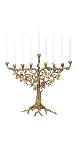 Jay Strongwater - Jay Strongwater Isaiah Floral and Fine Menorah - Jay Strongwater Isaiah Floral and Fine Menorah SDH2350-450  -  Size: 14.5 Inches Wide x 12.75 Inches Tall x 5 Inches Deep  -  Hand Set With Swarovski Crystals  -  Hand Enameled Cast Pewter  -  Made In The U.S.A.  -  Jay Strongwater Item Number: SDH2350 450