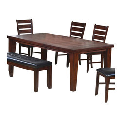 "Coaster - Coaster Imperial Dining Table with 18"" Leaf Extension in Rustic Oak - Coaster - Dining Tables - 101881"