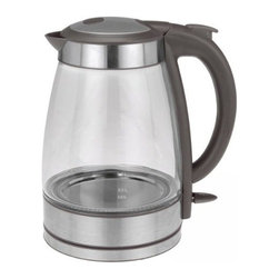 Kalorik - Kalorik Grey and Stainless Steel Glass Water Kettle - A fast-boiling kettle with an elegant glass design is a welcome addition to any kitchen. Boil up to 1.7 liters of water for coffee, tea, pastas, and more with the Kalorik Cordless Glass Kettle. With the convenience of a cordless jug you can safely boil water in your kitchen and then transport it to any room in your home. This unit features a high quality Strip controller with multiple safety features, including auto shut-off and boil dry protection. With the bright blue LED illumination inside the kettle this will seem more like a decoration than an appliance. So stop wasting all that electricity heating pot after pot of water on the stove! Get boiling hot water within minutes with the Kalorik Cordless Glass Kettle.