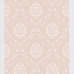 Graham and Brown - Costello Wallpaper - Beige/Cream - Costello is an in-register small scale damask wallpaper with a jacquard stitch effect into the Harvey plain background.