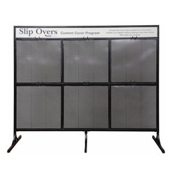 """Powell - Powell Classic Seating ''Slip Over'' Display Rack - Parsons chair """"Slip over"""" Display rack has 4"""" double hooks on both sides and will hold 3 slip cover bags per double hook for a total of 36 bags. Construction is 1"""" square steel tube frame with 1/8"""" perforated mesh metal panels with textured black finish."""