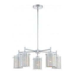 Minka George Kovacs - Minka George Kovacs Grid II 5-Light Chrome Clear w/ Chrome Mesh Glass Chandelier - This Five Light Down Chandelier is part of the Grid Ii Collection and has a Chrome finish and Clear with Chrome Mesh glass.