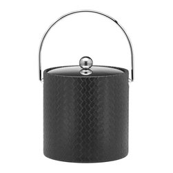 Kraftware - San Remo Ice Bucket in Eclipse w Metal Cover - Bale handle. 3 quart ice bucket. Made in USA. 9 in. Dia. x 9 in. H (3 lbs.)The Grant Signature Home collection's San Remo group features upscale leatherette vinyl's that have an old world charm. Beautifully textured and appointed, San Remo is a proven winner.
