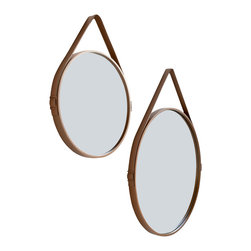 ModLoft - George 24in. Mirror - George hanging round mirror features leather wrapped steel frame with buckle strap and stainless steel hanging hardware.