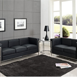 LexMod - Leather Le Corbusier Style LC2 Loveseat and Sofa in Black, Eileen Gray Side Tabl - Urban life has always a quandary for designers. While the torrent of external stimuli surrounds, the designer is vested with the task of introducing calm to the scene. From out of the surging wave of progress, the most talented can fashion a forcefield of tranquility.