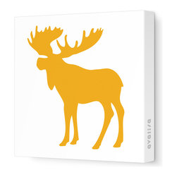 """Avalisa - Silhouette - Moose Stretched Wall Art, 12"""" x 12"""", Orange - This mod moose silhouette captures the spirit of the forest in chic, contemporary style. Create an ensemble of forest friends with moose, bear and squirrel silhouettes or let one extra-large moose print cast its magnificent presence over the room. Include some trees or other nature-inspired elements in the room to make your moose feel at home."""