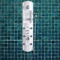 Atlas International Inc - Lucite Acrylic Shower Panel - Ariel - Ariel Shower Panels are fully loaded with Jets for Full Body Massage, steam generator, & a rainfall showerhead to greatly increase your therapeutic experience.