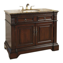 """Legion Furniture - 42 Inch Traditional Single Sink Bathroom Vanity - This 42 inch traditional single sink bathroom vanity is a perfect center piece for your bathroom project. This Cherry Brown finish bathroom vanity features two doors, and a Baltic Brown granite counter top with white under mount sink that is pre-drilled for a standard 8 inch spread 3-hole faucet (faucet not included). Large opening in back for easy plumbing installation.  Dimensions: 42""""W X 22""""D X 35""""H (Tolerance: +/- 1/4""""); Counter Top: Baltic Brown Granite; Finish: Cherry Brown; Features: 2 Doors; Hardware: Antique Brass; Sink(s): 15.5"""" X 12"""" Under Mount White Ceramic; Faucet: Pre-Drilled for Standard Three Hole 8"""" Center (Not Included); Assembly: Fully Assembled; Large cut out in back for plumbing; Included: Cabinet, Sink; Not Included: Faucet, Backsplash."""