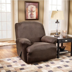 Sure Fit - Sure Fit Stretch Leather Recliner Slipcover - 37162 - Shop for Chair and Slip Covers from Hayneedle.com! The Stretch cover is a one-piece cover made from a soft poly/cotton blend and spandex material. Its stretching qualities offer a clean tailored look for both box and T-cushion style furniture. It features an adjustable arm width and inner pleats to minimize tucking.About Sure FitSurefit Inc. is widely known for its attractive quality furniture covers slipcovers and decorative accessories. The success of their ready-made furniture slipcovers and accessories is based on extensive experience providing cost-effective decorative solutions made to fit in a broad range of styles to meet the needs of all customers. Sure Fit's furniture slipcover product line includes slipcovers for sofas loveseats chairs oversized chairs wing chairs dining room chairs recliners ottomans and folding chairs as well as furniture and pet throws. Sure Fit also sells coordinating decorative pillows. Sure Fit is dedicated to quality product with rigorous durability and performance standards that are second to none. Many patterns feature dual-action Scotchgard Protector to repel and release stains. Home of the Ten Minute Makeover Sure Fit provides an attractive and affordable solution for consumers who need to protect furniture from children pets and general wear or want to quickly and cost-effectively upgrade their furniture and enhance the appearance of any room.Please note this product does not ship to Pennsylvania.
