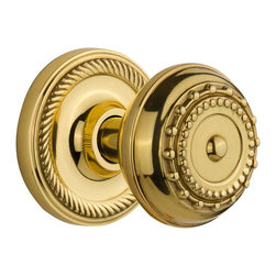 Nostalgic - Nostalgic Privacy-Rope Rose-Meadows Knob-Polished Brass (NW-702503) - Rope Rose with Meadows Knob - Privacy