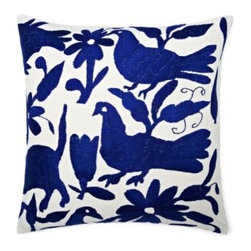 5 Surry Lane - Mexican Embroidered Otomi Blue Pillow - Warm up your sofa or bedding with a colorful throw pillow. The rich and storied pattern originates with the Otomi Indians of Mexico, and is still hand-embroidered by them today. Pick from two sizes and six vibrant colors to complement your well-traveled aesthetic.