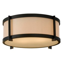 Murray Feiss - Murray Feiss Stelle Transitional Flush Mount Ceiling Light X-BRO533MF - Clean lines and a modern drum shade shape draw the eye in, ensuring that this Murray Feiss flush mount ceiling light will compliment a variety of home decor styles. From the Stelle Collection, it features a modern cream colored linen fabric shade that is complimented by an Oil Rubbed Bronze finish.