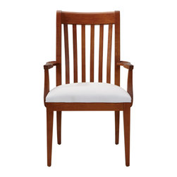 Ethan Allen - Teagan Armchair - It's okay if the Teagan armchair makes you feel a little slathappy--it tends to have that affect. The classic, craftsman-styled chair features a slatted, steam-bent back that's eye catching. The Teagan is the perfect choice for those who have an eye for the distinguished look of classic, unfettered lines.