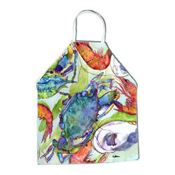 Caroline's Treasures - Crab Apron 8547APRON - Apron, Bib Style, 27 in H x 31 in W; 100 percent  Ultra Spun Poly, White, braided nylon tie straps, sewn cloth neckband. These bib style aprons are not just for cooking - they are also great for cleaning, gardening, art projects, and other activities, too!
