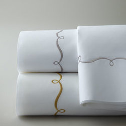 Pine Cone Hill - Pine Cone Hill King Embroidered Hem Sheet Set - Dress your bed in the exquisite handiwork of Ankasa. White bed linens are detailed with ruching, smocking, and intricate coral embroidery. Dry clean. Imported. The all-white linens are handmade of 500-thread-count cotton. Coverlets alternate ruched s...