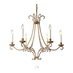 Traditional Metal and Crystal 6 lights Chandelier 11567 - Traditional Metal and Crystal 6 lights Chandelier 11567