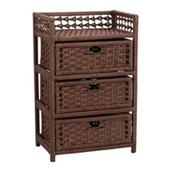Household Essentials - Paper Rope 3-Drawer Chest, Brown - Our Hand-Woven Paper Rope 3-Drawer Chest in dark brown color fits into any nook and corner. The hand-woven chest is sturdy, beautiful and has a classic design. Perfect for bathrooom storage, it stores linens, towels and extra rolls of paper. Organizes your bathroom in a stylish way and blends in any decor.