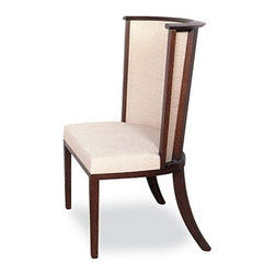 EcoFirstArt - Chinon Chair - Sleek, strong, stylish and sustainable. This chair has it all, from the elegant lines of the dark stained, rift sawn oak to the soft upholstery covered in organic white linen. Its' a great addition to your dining table, desk or as an occasional chair anywhere.