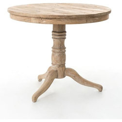 Four Hands - Round Occasional Table - Hand-crafted from elm wood reclaimed from old buildings, this sweet table has an American Colonial–inspired design that captures the vintage spirit of its found origin. The wood is bleached and sanded to expose the raw, rustic beauty of the grain, then whitewashed for a softer, country cottage appeal.