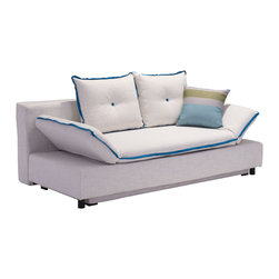 Zuo Modern Contemporary, Inc. - Serenity Sleeper Sofa Natural with Blue Piping - Full of hip style, the Serenity Sleeper is functional and goregous.  It has adjustable arms and storage space.  It is wrapped in a rich polyblend fabric.