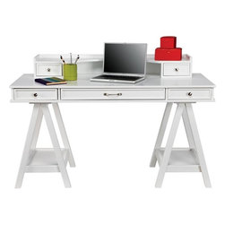 Cottage Colors White Desk & Hutch - I found this stylish desk at Room To Go Kids! It has adult-size proportions, and the sophisticated campaign desk style and white lacquer-like high gloss finish makes it a perfect and affordable choice.