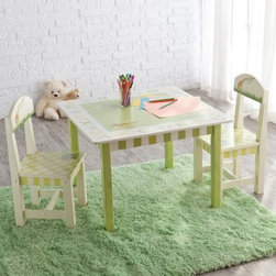 Teamson Alphabet Table and Chair Set - Let's learn the alphabet on this Alphabet Table and Chairs Set! This cute set features 2 children favorites animals and the alphabet. The table and chairs are made of sturdy wood with pastel colored decorations throughout. Letters of the alphabet surround the table creating a pleasing playful look. The chairs feature a giraffe on their backs and a pastel green plaid on their seats. Both boys and girls will enjoy this fun set! Table dimensions: 28L x 28W x 20.5H inches Chair dimensions: 13L x 12W x 25H inches.