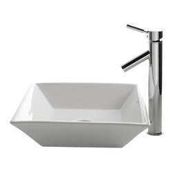 Kraus - Kraus C-KCV-125-1002CH White Square Ceramic Sink and Sheven Faucet - Add a touch of elegance to your bathroom with a ceramic sink combo from Kraus