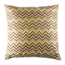 "Canaan - 24"" x 24"" Prescott Zig Zag Modern Abstract Pattern Throw Pillow - Prescott zig zag modern abstract pattern throw pillow with a feather/down insert and zippered removable cover. These pillows feature a zippered removable 24"" x 24"" cover with a feather/down insert. Measures 24"" x 24"". These are custom made in the U.S.A and take 4-6 weeks lead time for production."