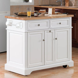 "Tresanti - Summerville Kitchen Cart - Features: -Top features a thick rubberwood work surface with a butcher block pattern.-Decorative raised frame and panel details.-Two operable drawers with a pull through mechanism to allow access on either side.-Pull out center storage area with adjustable shelves.-Cabinets feature adjustable shelves.-Product Type: Kitchen Island.-Base Finish: White.-Counter Finish: Rubber wood.-Hardware Finish: Brushed nickel.-Distressed: No.-Powder Coated Finish: No.-Gloss Finish: Yes.-Base Material: Hardwood and wood veneer.-Counter Material: Rubber wood.-Hardware Material: Metal.-Solid Wood Construction: No.-Stain Resistant: No.-Warp Resistant: No.-Exterior Shelves: No.-Drawers Included: Yes -Number of Drawers: 2.-Push Through Drawer: Yes.-Drawer Glide Extension: Yes.-Dovetail Joints: Yes.-Drawer Dividers: Yes.-Drawer Handle Design: Knobs.-Silverware Tray : Yes..-Cabinets Included: Yes -Number of Interior Shelves: 2.-Adjustable Interior Shelves: Yes.-Magnetic Door Catches: Yes.-Locking Doors: No.-Door Handle Design: Knobs..-Towel Rack: Yes -Removable Towel Rack: No..-Pot Rack: No.-Spice Rack: No.-Cutting Board: Yes.-Drop Leaf: No.-Drain Groove: No.-Trash Bin Compartment: No.-Stools Included: No.-Casters: Yes -Locking Casters: Yes.-Removable Casters: No..-Wine Rack: No.-Stemware Rack: No.-Cart Handles: No.-Finished Back: Yes.-Weight Capacity: 200 lbs.-Swatch Available: No.-Commercial Use: No.-Recycled Content: No.-Eco-Friendly: No.-Product Care: Wipe clean with a dry cloth.Specifications: -ISTA 3A Certified: No.Dimensions: -Overall Height - Top to Bottom: 36"".-Overall Width - Side to Side: 42"".-Overall Depth - Front to Back: 21"".-Width Without Side Attachments: 42"".-Height Without Casters: 36"".-Countertop Thickness: 1.25"".-Countertop Width - Side to Side: 42"".-Countertop Depth - Front to Back: 21"".-Shelving: -Shelf Height - Top to Bottom: 22"".-Shelf Width - Side to Side: 13.75"".-Shelf Depth - Front to Back: 16""..-Drawer: -Drawer Interior Height - Top to Bottom: 16"".-Drawer Interior Width - Side to Side: 17.5"".-Drawer Interior Depth - Front to Back: 16.75""..-Overall Product Weight: 155.1 lbs.Assembly: -Assembly Required: Yes.-Tools Needed: Phillips head screwdriver, scissors and utility knife.-Additional Parts Required: No.Warranty: -Product Warranty: 1 Year limited warranty."