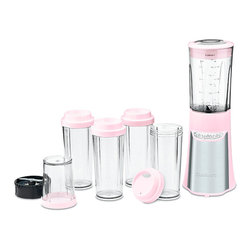 Cuisinart - Pink Blending/Chopping System - This streamlined blender makes smoothies, minces herbs and creates custom drinks in no time. Its petite size doesn't compromise on power thanks to a 350-watt motor, while easy, single-hand operation makes it completely user-friendly. Each of the included vessels is shatter-resistant and BPA-free for a smart, health-conscious way to prep food. The included four travel cups make it extra easy to take creations on the go.   Includes blender, 32-oz. blender cup, 8-oz. chopper cup and four 16-oz. to-go cups 10.9'' H x 13.8'' H x 10.25'' D 350 W Plastic / stainless steel BPA-free Hand wash Imported