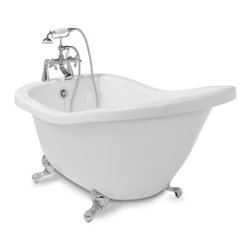 "Shop American Bath Factory 59""L x 31""W White with Chrome Feet Tub at Lowes.com - This classic clawfoot bathtub has a sloped high back for comfort and enough depth to submerge up to your neck! Great for a vintage modern bathroom or as the focal point in a more contemporary spa-like bathroom."