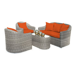 "Reef Rattan - Reef Rattan 4 Piece Conversation Set - Grey Rattan / Orange Cushions - Reef Rattan 4 Piece Conversation Set - Grey Rattan / Orange Cushions. This patio set is made from all-weather resin wicker and produced to fulfill your needs for high quality. The resin wicker in this patio set won't fade, shrink, lose its strength, or snap. UV resistant and water resistant, this patio set is durable and easy to maintain. A rust-free powder-coated aluminum frame provides strength to withstand years of use. Sunbrella fabrics on patio furniture lends you the sophistication of a five star hotel, right in your outdoor living space, featuring industry leading Sunbrella fabrics. Designed to reflect that ultra-chic look, and with superior resistance to the elements in a variety of climates, the series stands for comfort, class, and constancy. Recreating the poolside high end feel of an upmarket hotel for outdoor living in a residence or commercial space is easy with this patio furniture. After all, you want a set of patio furniture that's going to look great, and do so for the long-term. The canvas-like fabrics which are designed by Sunbrella utilize the latest synthetic fiber technology are engineered to resist stains and UV fading. This is patio furniture that is made to endure, along with the classic look they represent. When you're creating a comfortable and stylish outdoor room, you're looking for the best quality at a price that makes sense. Resin wicker looks like natural wicker but is made of synthetic polyethylene fiber. Resin wicker is durable & easy to maintain and resistant against the elements. UV Resistant Wicker. Welded aluminum frame is nearly in-destructible and rust free. Stain resistant sunbrella cushions are double-stitched for strength and are fully machine washable. Removable covers made with commercial grade zippers. Tables include tempered glass top. 5 year warranty on this product. Three Seater Sofa: W 63"" D 31"" H 31"", Chair (2): W 35"" D 31"" H 31"", Coffee Table: W 35"" D 18"" H 18"""