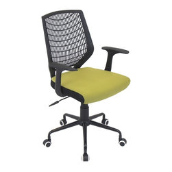 LUMISOURCE - Lumisource Network Office Chair, Black/Green - For a basic, yet sleek design, try the Network Office Chair. It adds a touch of modern flair to your home office, conference room, or board room. The padded seat and lumbar support creates comfort for the long days at work. The Network Office Chair offers a comfortable PE backrest, adjustable height, adaptable tilt & tension, and swivels 360 degrees. It sits atop a sturdy 5-point metal base and casters for mobility. BIFMA certified.
