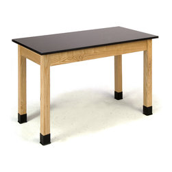 National Public Seating - National Public Seating Science Lab Table - Phenolic Top - Plain Front - 24 x 48 - Built with solid oak legs and aprons that are attractively finished, our science lab tables are perfect for science and chemistry classrooms. These tabletops provide an exceptional work surface and are made with chemical and water-resistant chem-res high pressure laminate on a 1-1/8 inch-thick core.