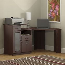 Bush - Corner Desk in Cherry - Vantage - Designed with superb craftsmanship and distinctive contemporary styling, the Vantage Collection extends full functionality within the workplace .  So stylish and versatile, this desk has CPU storage with wire access concealed by a door with frosted glass. * Keyboard tray not included. Two box drawers for supplies and miscellaneous storage. One file drawer holds letter-size files. CPU storage with wire access concealed by door with frosted glass. Elevated shelf for printer or peripherals. Adjustable/removable shelf for supplies or files. 58.504 in. W x 38.425 in. D x 35.433 in. H