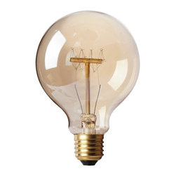 40W Edison Tungsten Globe Vintage Antique E27 Light Bulb - Each 40W bulb fits a standard light socket, making it an easy, fun alternative to any basic light bulb, maintaining a life span of up to 2,000 hours. Each bulb illuminates with a warm amber glow, filling any space with the utilitarian ambiance reminiscent of the original tungsten filament bulbs of the mid-20th Century.