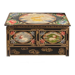 Golden Lotus - Tibetan Hand Painted Foo Dog Deer & Flowers Altar Table / TV Stand - This elegant Tibetan altar table is made of solid elm wood and hand painted with Foo Dogs, deer and flowers graphic. It can be used as a altar table, a unique TV stand, or display stand for plants or statues.